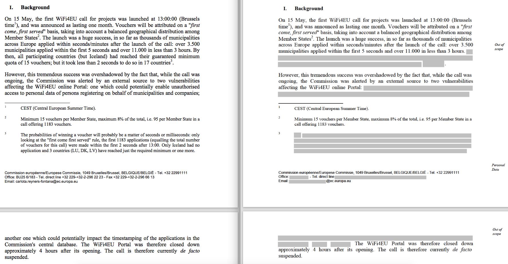 Esquerra: versió del mes de maig de la nota sobre l'error tècnic de fons de WiFi4EU. Dreta: nova versió completa de la mateixa nota. (Foto: EUobserver)